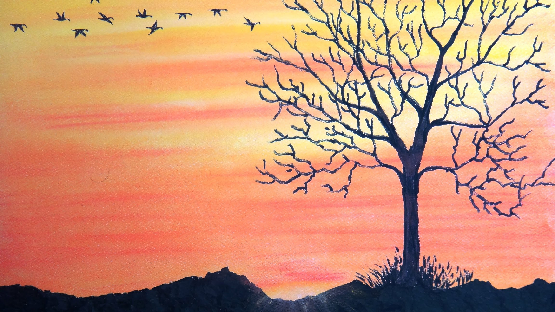 2304x1296 Easy Nature Drawings With Color How To Draw Sunset With Pastel