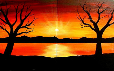400x250 Easy Sunset Drawing Images Amp Pictures Becuo, Simple Fall Landscape