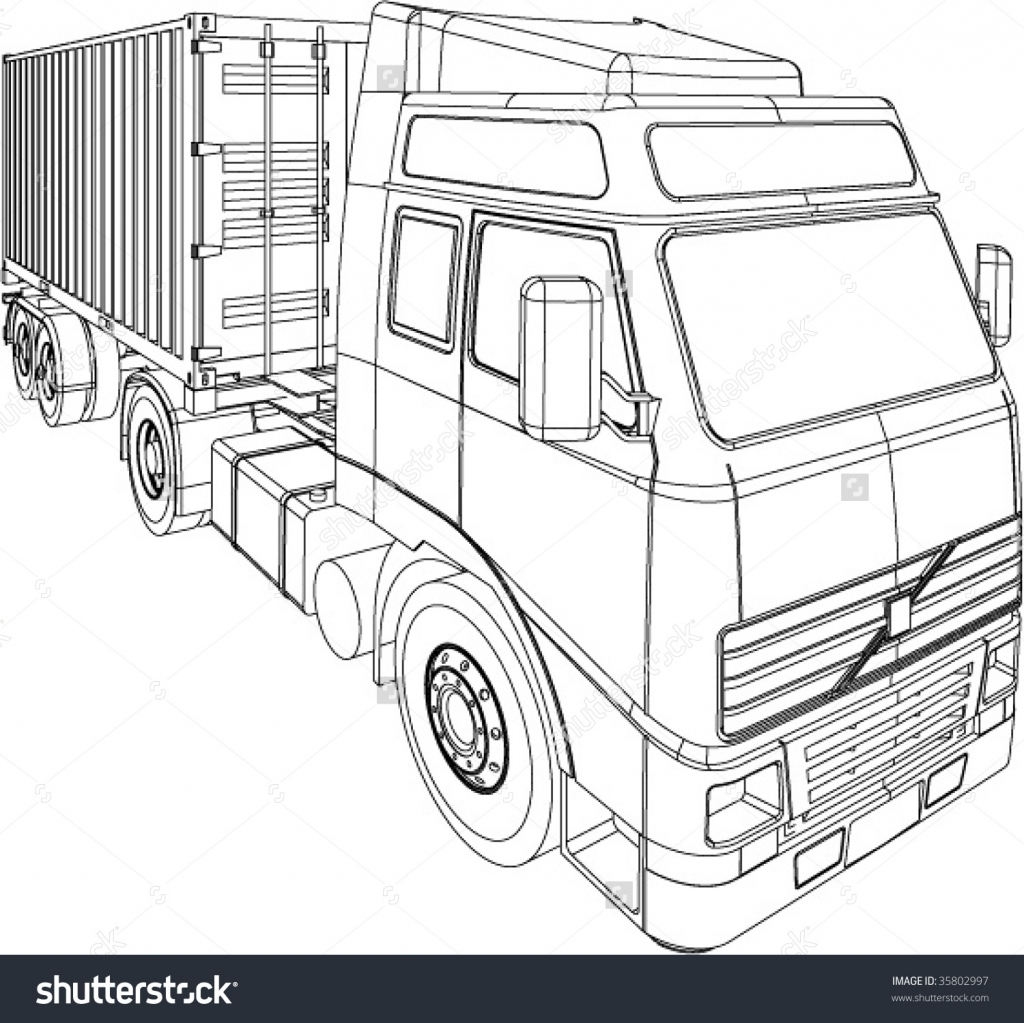 1024x1023 How To Draw A 3d Truck 2 Easy Ways To Draw A Truck (With Pictures