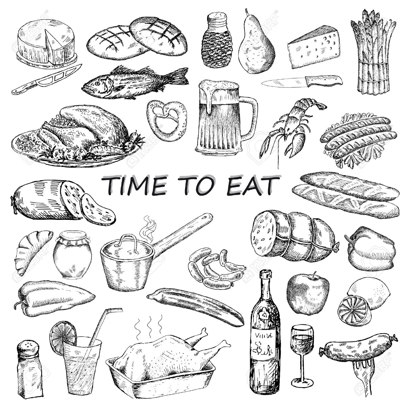 1300x1300 Time To Eat. Hand Drawing Set Of Vector Sketches Royalty Free
