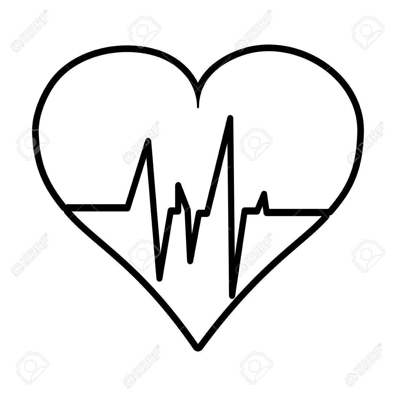 1300x1300 Flat Line Uncolored Heart Ecg Over White Background Vector
