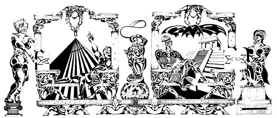 900x385 Down Economics Pen And Ink Drawing By Drew
