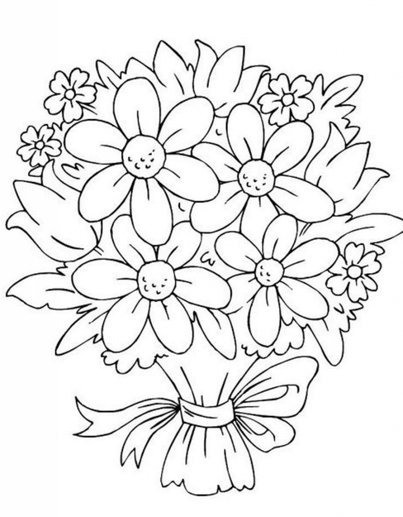 798x1024 Different Flower Bouquet Drawing