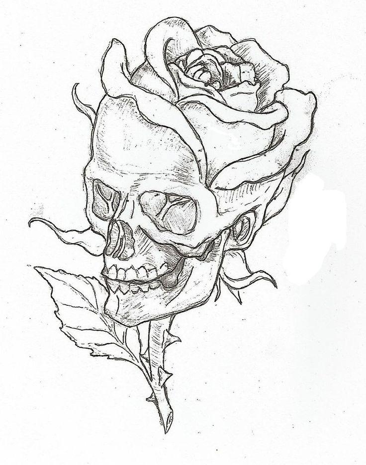 736x935 Skull Flower Drawing