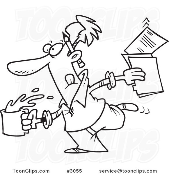 581x600 Cartoon Black And White Line Drawing Of An Editor Running