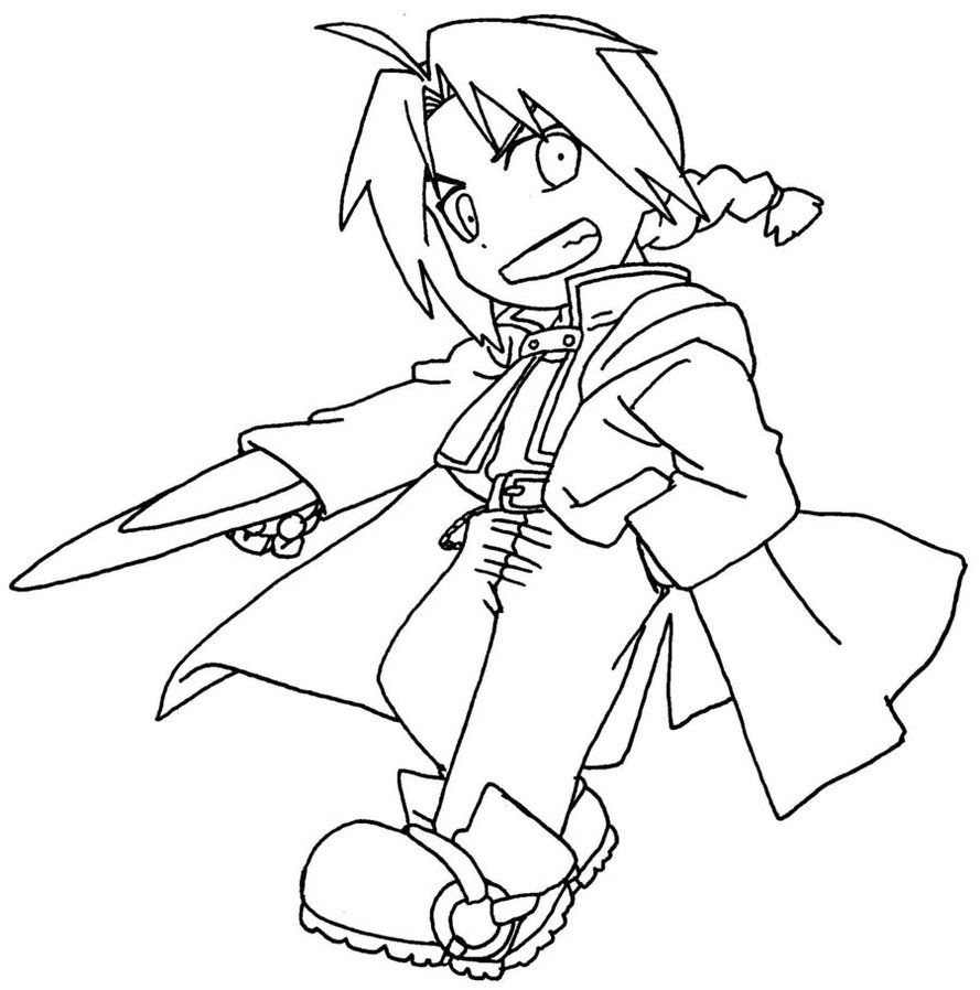 889x898 Chibi Edward Elric Lineart By Kailali