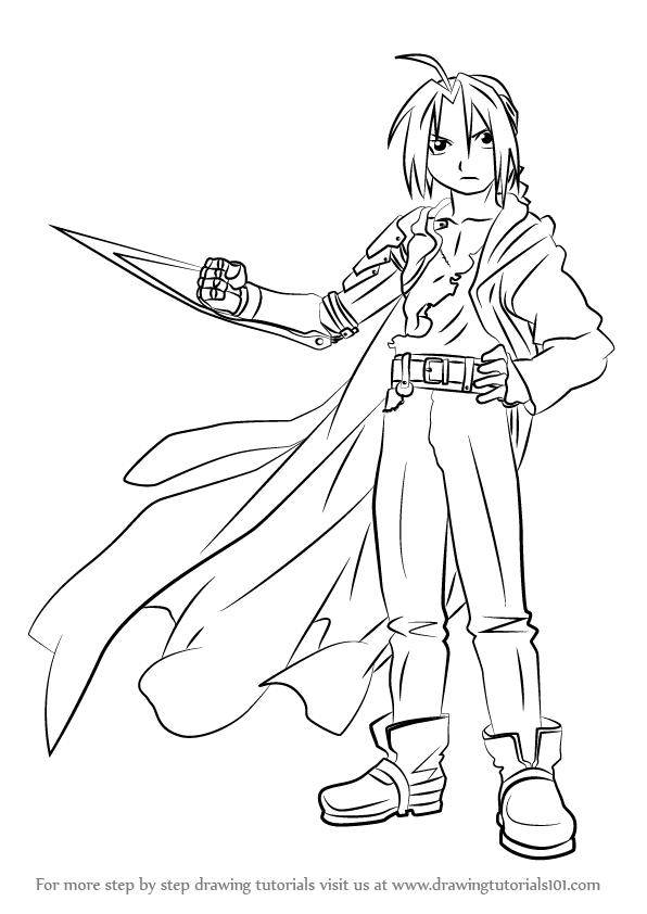 596x842 Learn How To Draw Edward Elric From Fullmetal Alchemist (Fullmetal