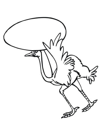 360x480 Cartoon Ostrich Carring Its Egg Coloring Page Free Printable