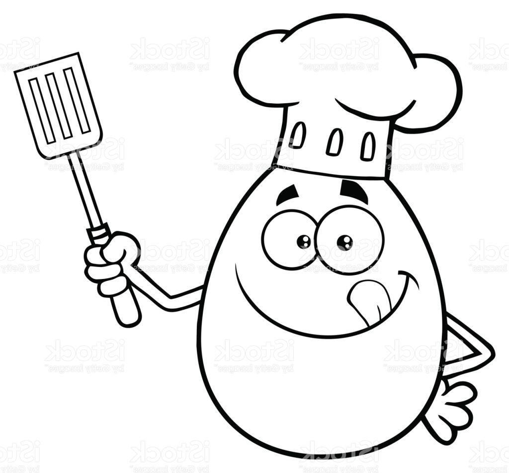 1024x953 Best Black And White Chef Egg Cartoon Mascot Character Licking His