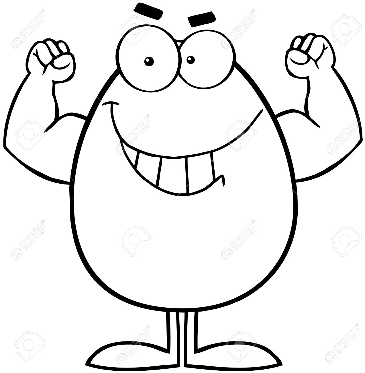 1274x1300 Outlined Strong Easter Egg Cartoon Character Royalty Free Cliparts