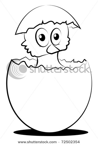 318x470 Vector Clipart Illustration Depicting A Tiny Chick Hatching Out