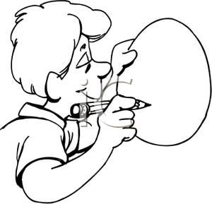 300x289 And White Cartoon Of A Man Drawing On An Easter Egg
