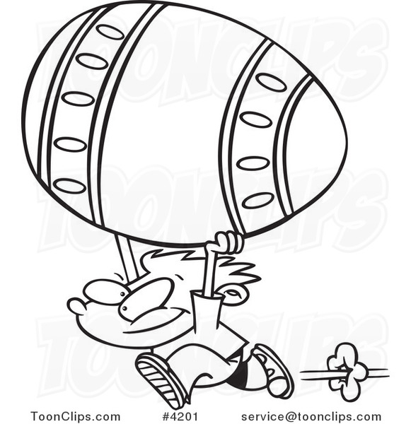 581x600 Cartoon Black And White Line Drawing Of A Boy Running With A Big