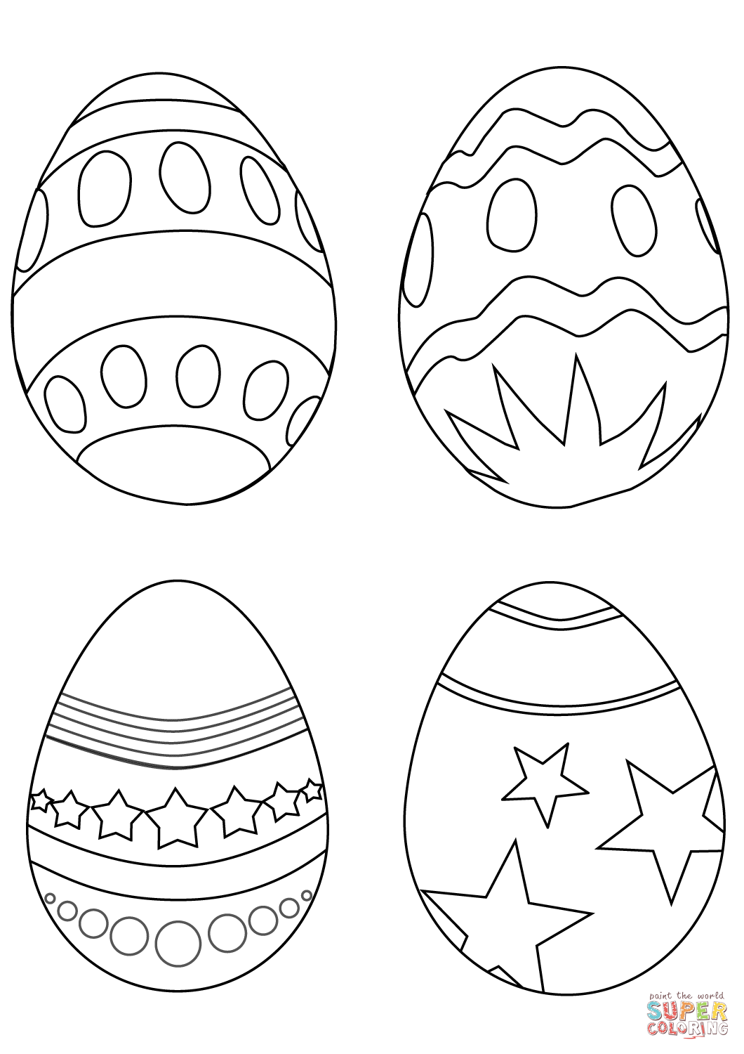1060x1500 Simple Easter Eggs Coloring Page Free Printable Pages