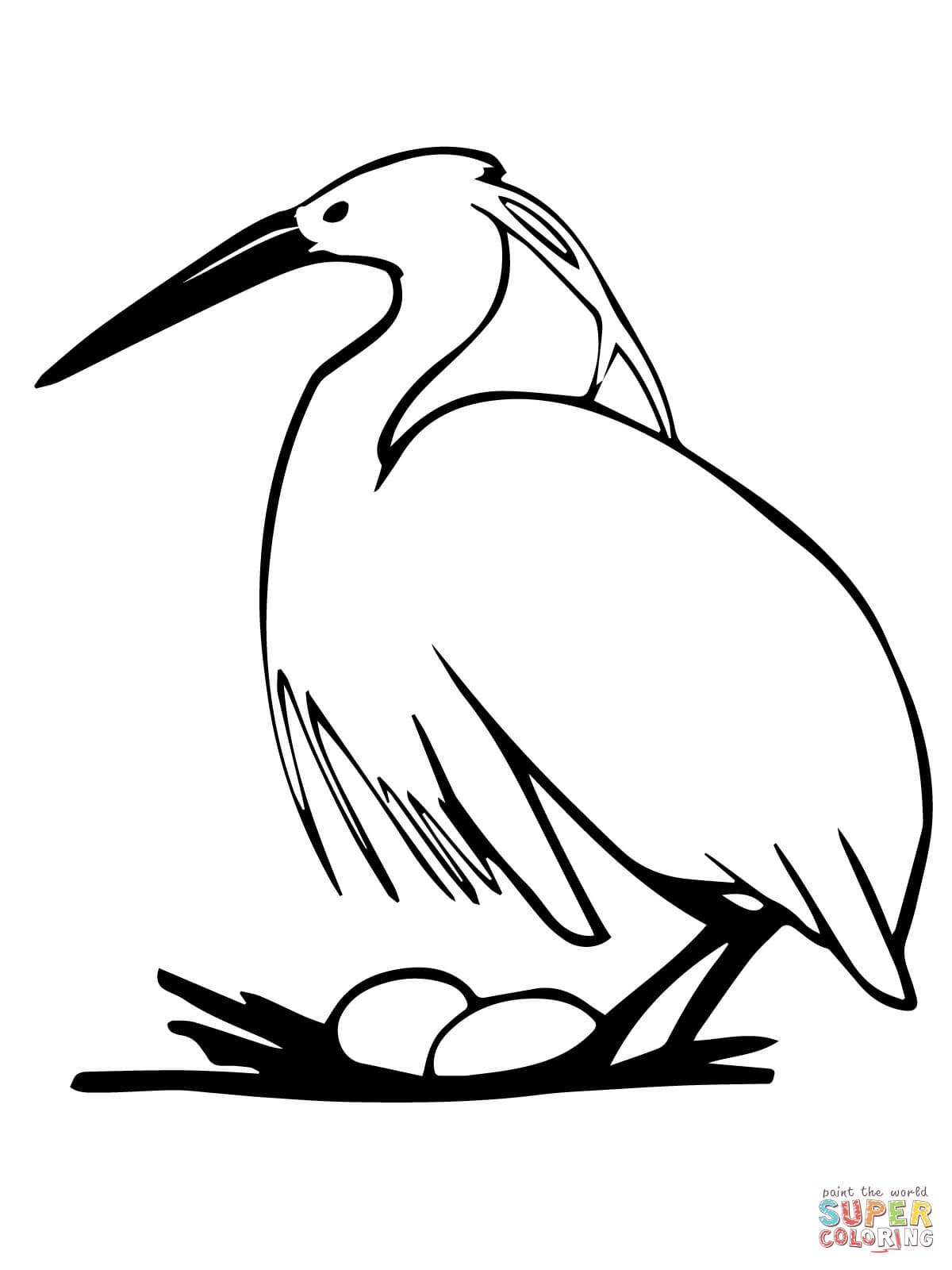 1200x1600 Heron Animal Coloring Pages Egret Page