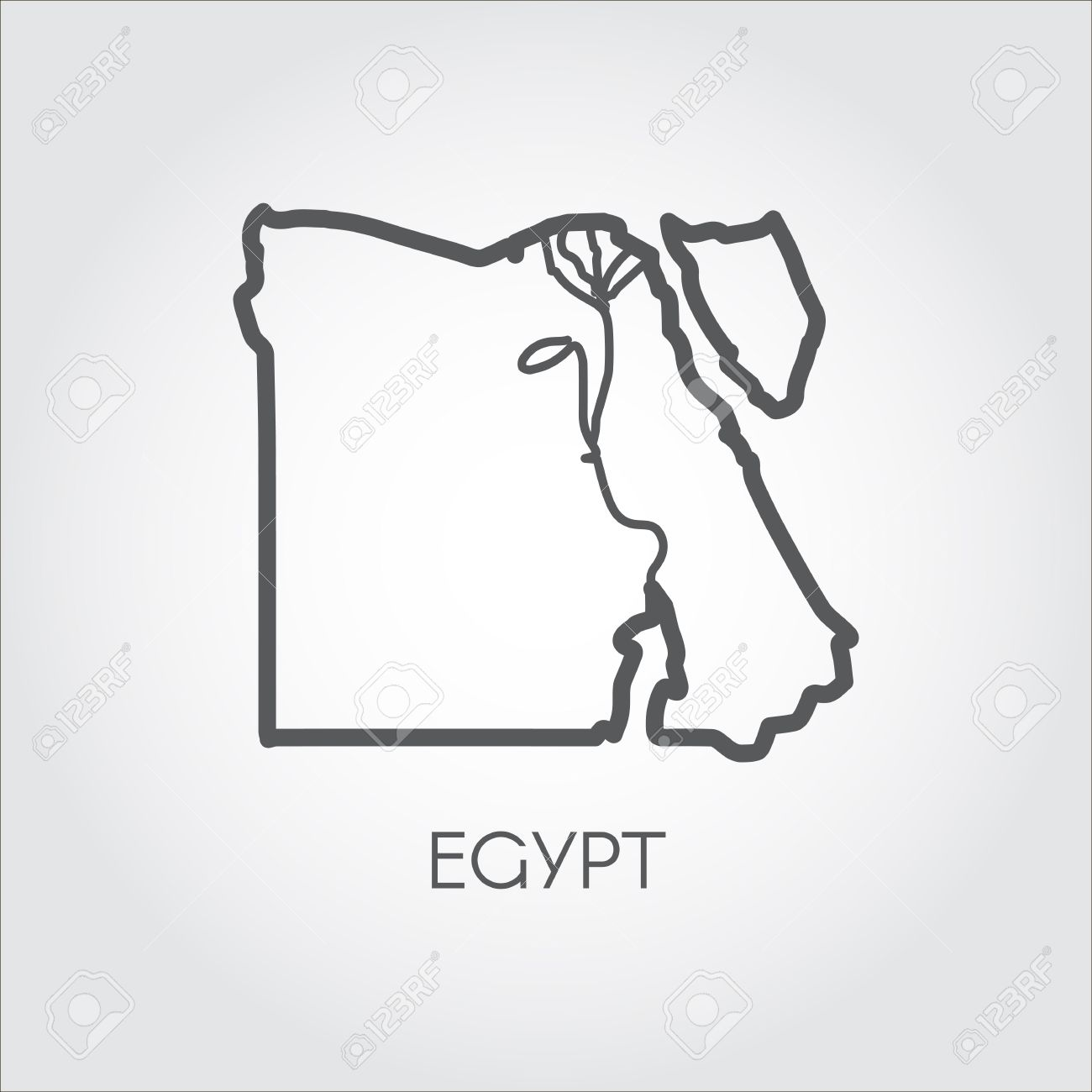 1300x1300 Contour Map Of Egypt With Shape Of Some Rivers. Simplicity Icon