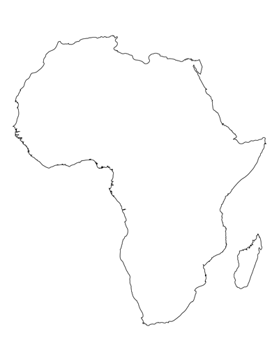400x518 Printable Map Of Africa For Students And Kids Africa Map Template