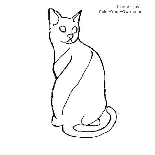 500x500 Egyptian Mau Cat Coloring Page