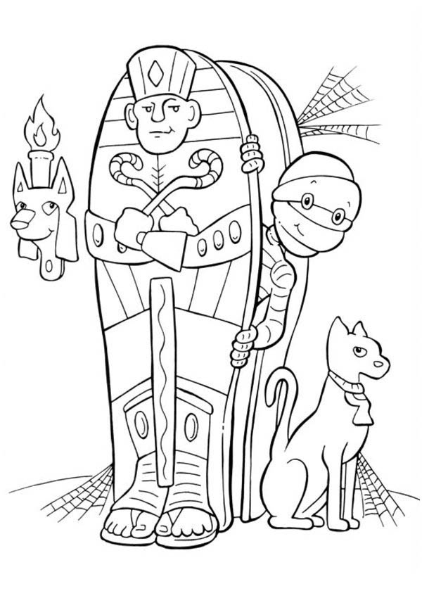 600x840 Egyptian Mummy And His Cat On Halloween Day Coloring Page Color Luna