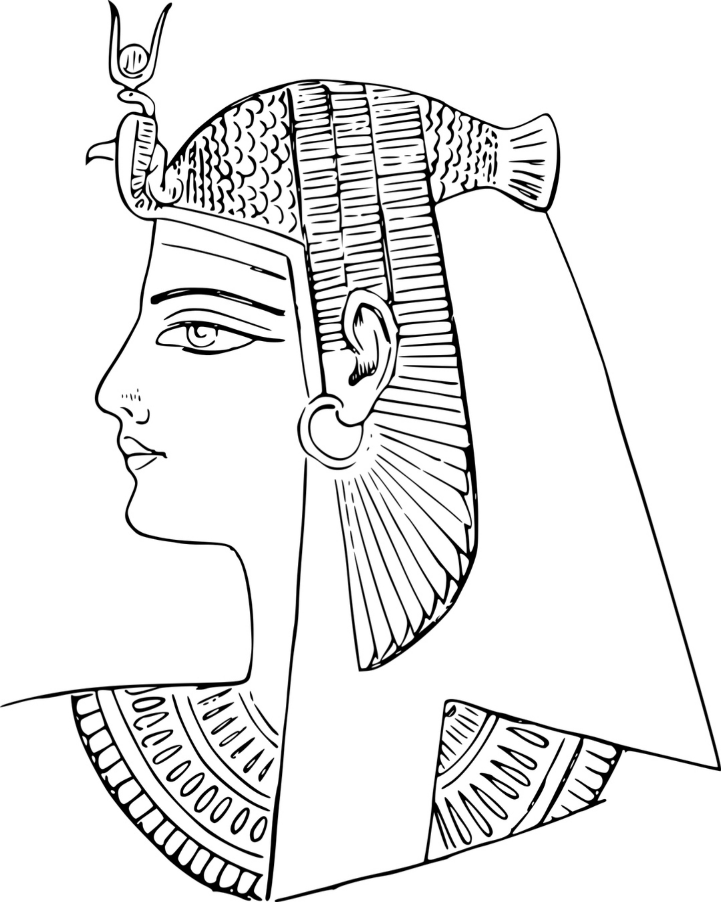 1440x1800 Ancient Egyptian Pharoah Coloring Page Free Things