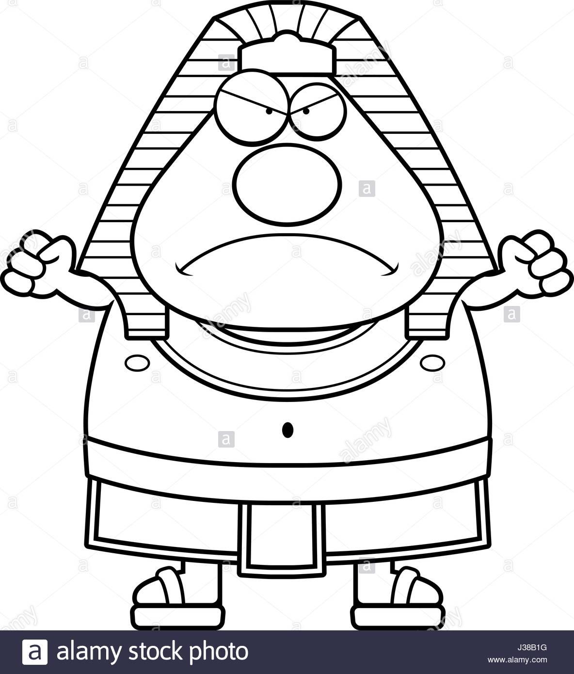 1184x1390 A Cartoon Illustration Of An Egyptian Pharaoh Looking Angry Stock
