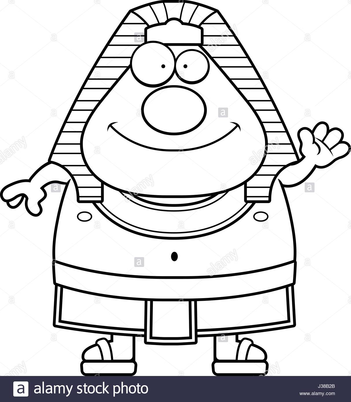 1213x1390 A Cartoon Illustration Of An Egyptian Pharaoh Waving Stock Vector