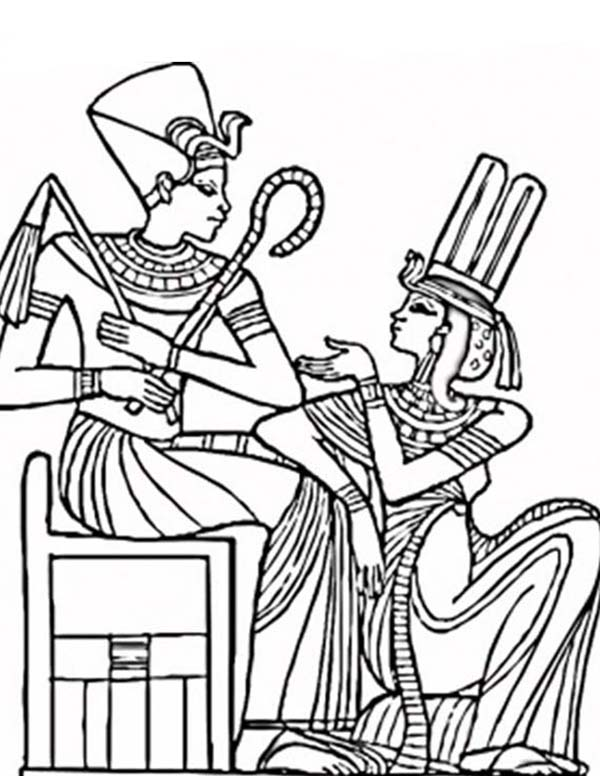600x776 An Ancient Egypt Pharaoh And His Queen Coloring Page