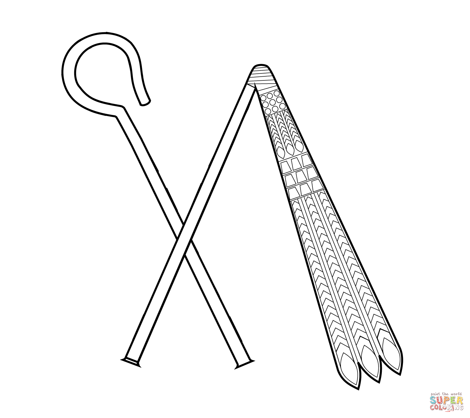 1620x1440 Crook And Flail Coloring Page Free Printable Pages
