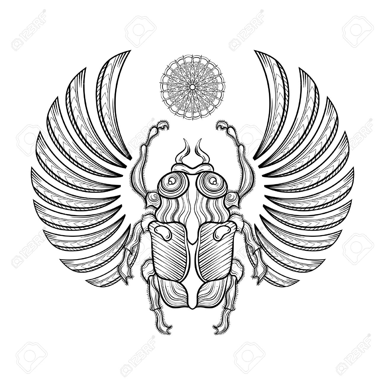 1300x1300 Illustration Egyptian Scarab Beetle With Wings. Egyptian Icons