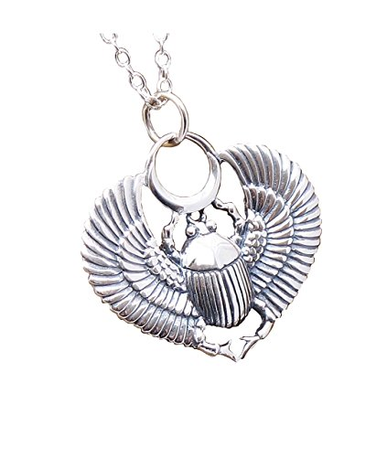 423x500 Sterling Silver Egyptian Scarab Egyptian Beetle Necklace 925