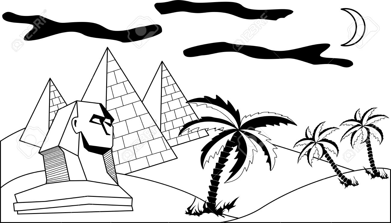 how to draw an egyptian pyramid
