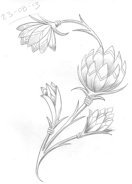 459x640 Day 235. Simple Egyptian Style Flowers. Art Tattoo