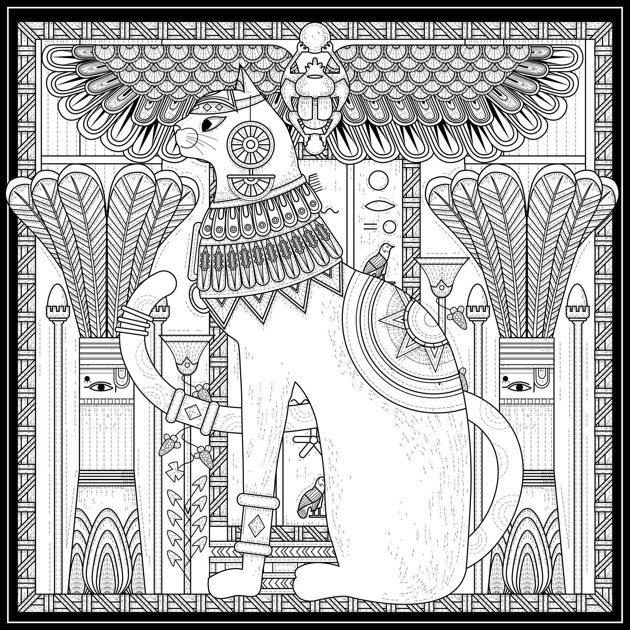 2048x2048 Egypt Cat Egyptian Style And Symbols By Kchung Egypt