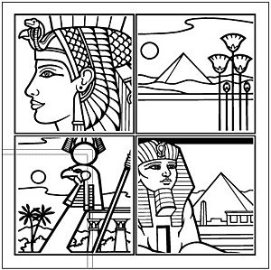 300x299 Egyptian Line Drawing 4 Trellis, Vector Graphic