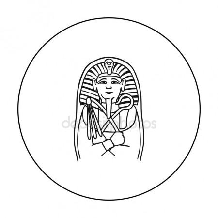 450x450 Egyptian Pharaoh Sarcophagus Icon In Outline Style Isolated