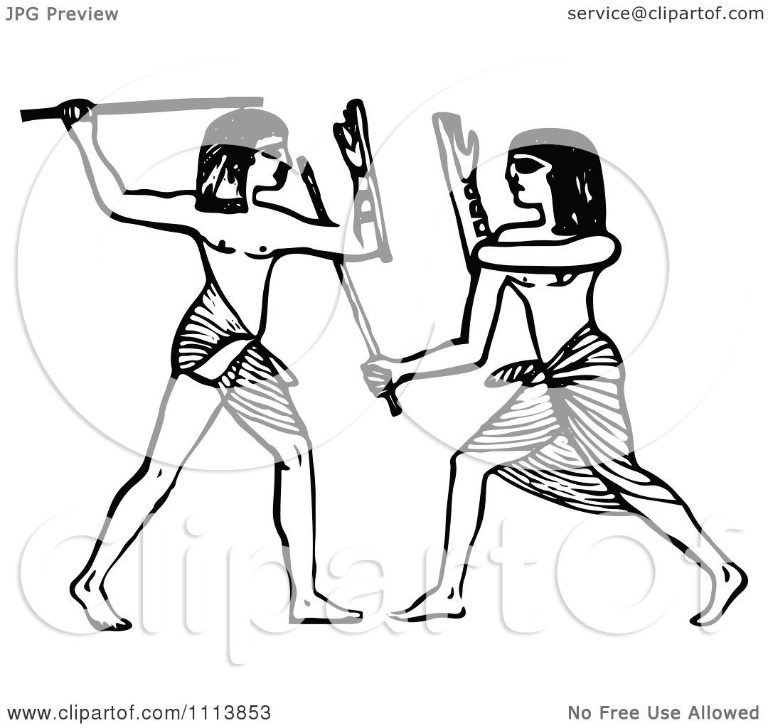 1080x1024 Clipart Vintage Black And White Ancient Egyptians Fencing