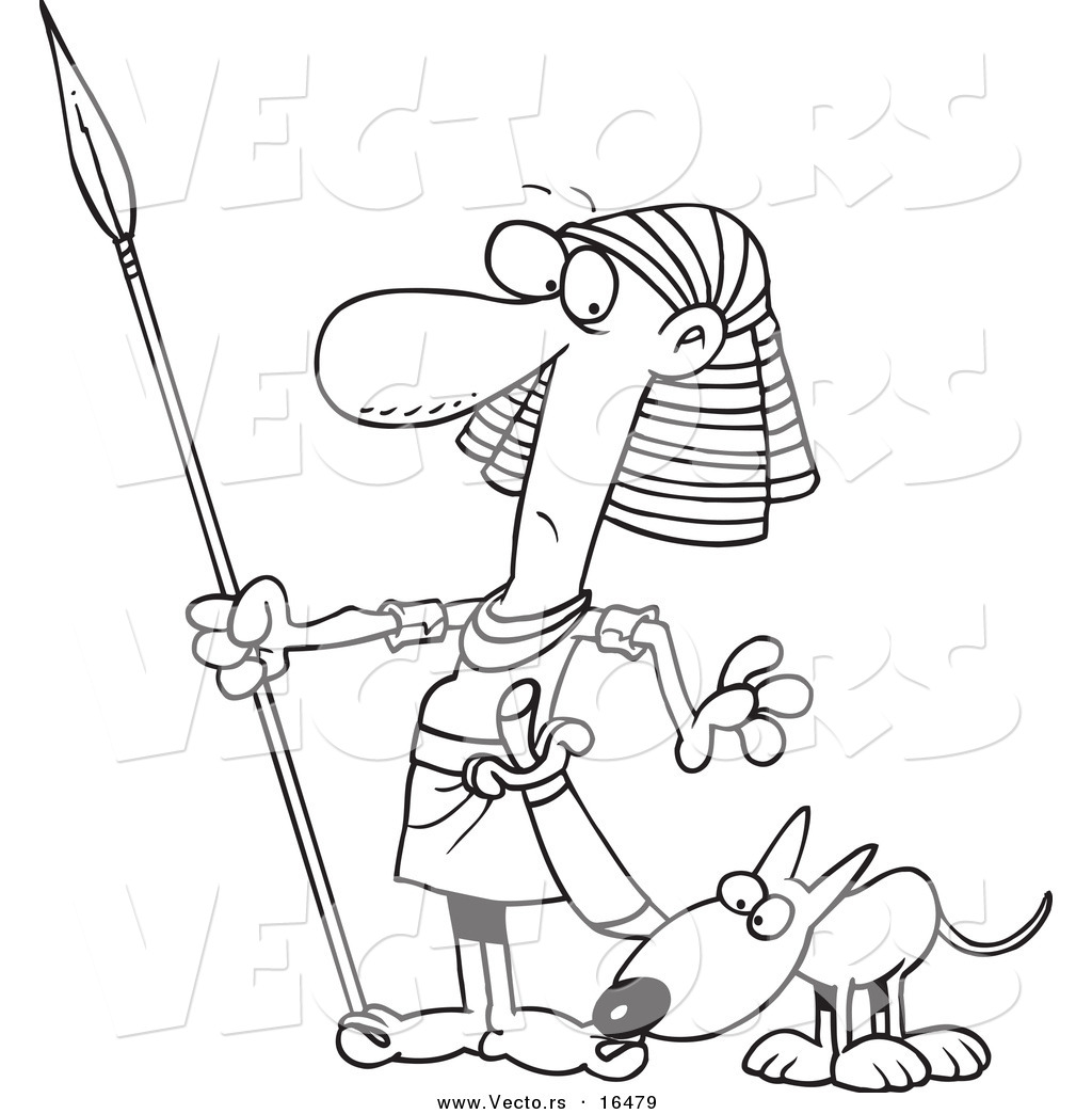 1024x1044 Vector Of A Cartoon Dog Sniffing An Egyptian Guard's Foot