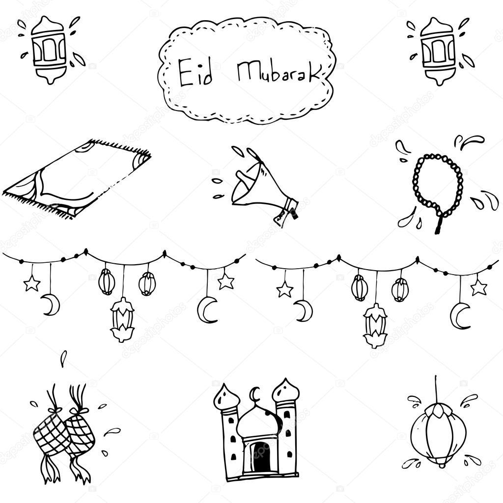 1024x1024 eid mubarak islamic in doodle stock vector wongsalam77