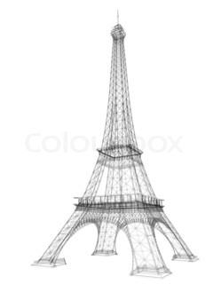 240x320 3d Eiffel Tower render Stock Photo Colourbox