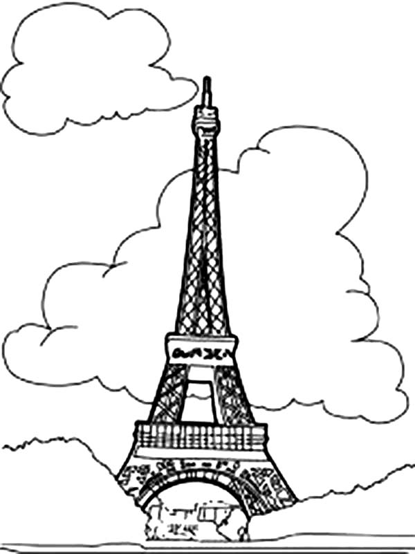 600x801 Eiffel Tower with Clouds Coloring Page