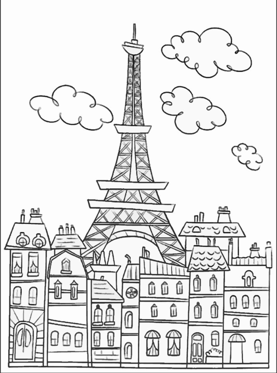 935x1255 Paris buildings amp Eiffel tower cute coloring page to download on