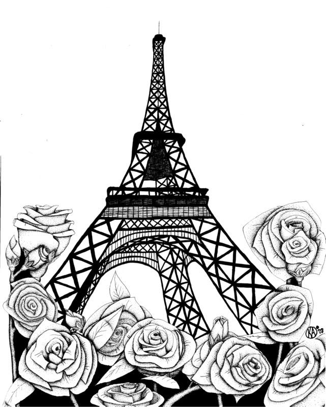 641x800 Simple Pen and Ink Drawings Ink drawing of the Eiffel Tower with