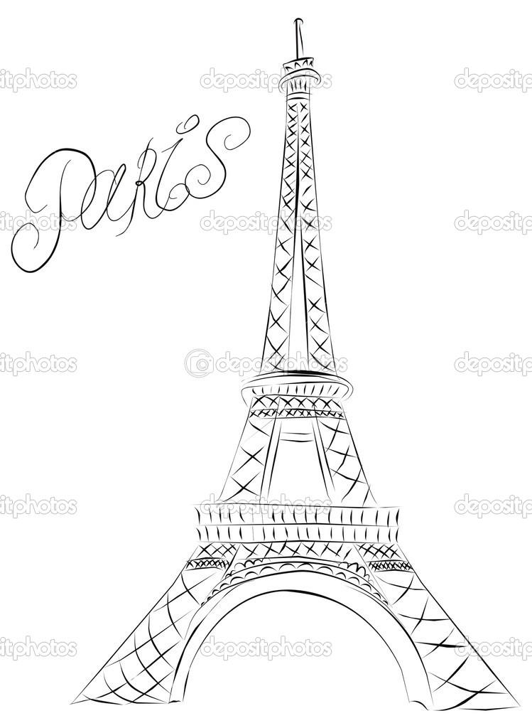 749x1024 Eiffel Tower Sketch Paris Eiffel Tower Stock Vector Marina99
