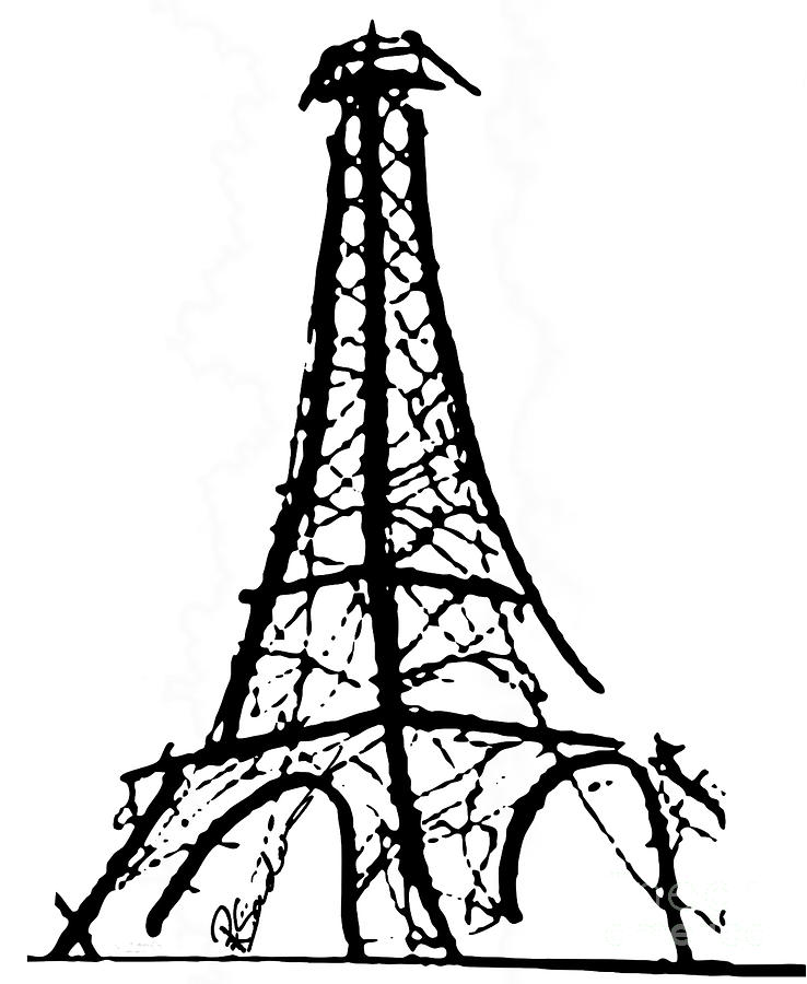 738x900 Eiffel Tower Drawing Black And White Desktop Backgrounds