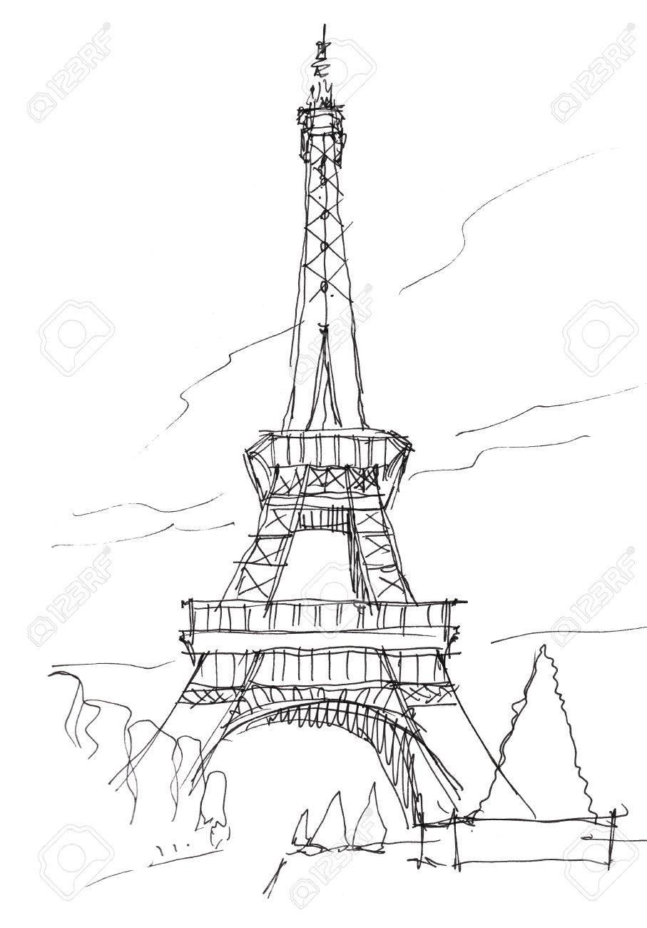 907x1300 Eiffel Tower Hand Pen Doodle Sketch Stock Photo, Picture