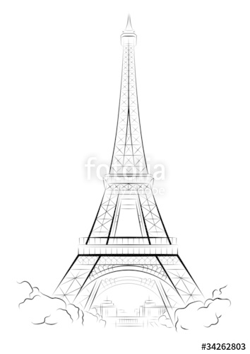 354x500 Vector Drawing Color Eiffel Tower In Paris, France Stock Image