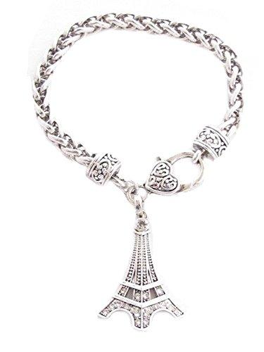 375x500 Eiffel Tower Clear Crystals Silver Chain Lobster Claw
