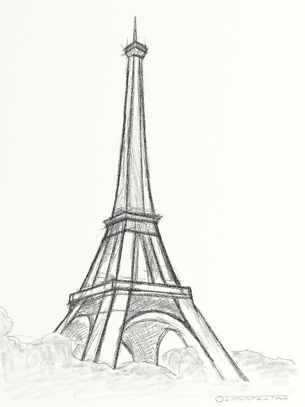 600x800 Easy drawing of the Eiffel Tower Travel Europe Pinterest