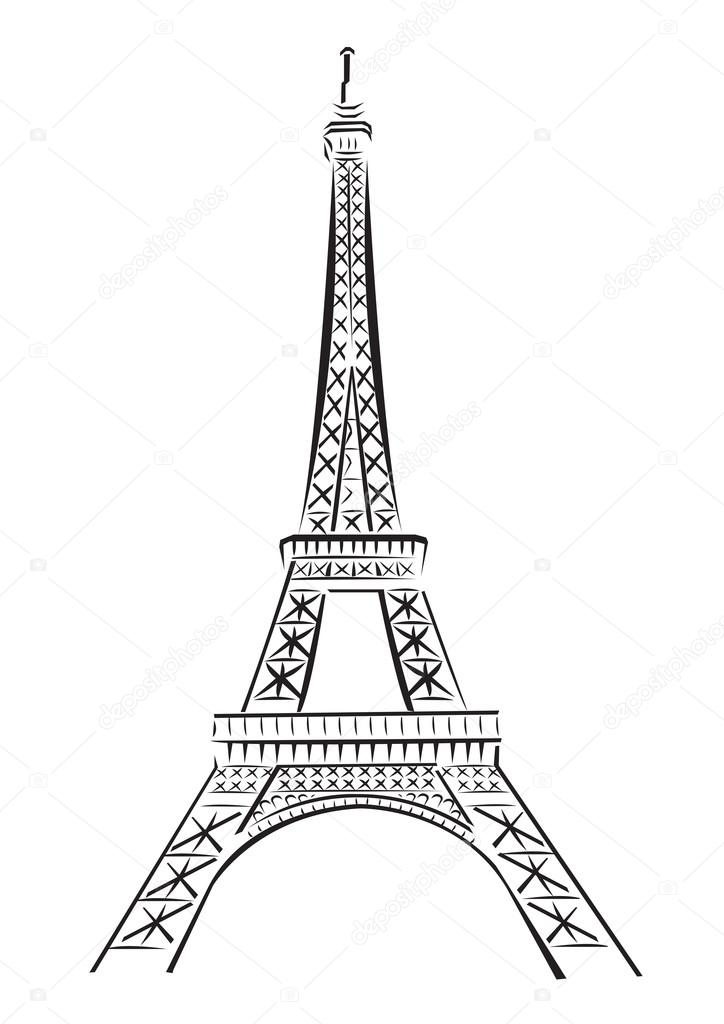 Line Drawing Eiffel Tower : Eiffel tower drawing black and white at getdrawings