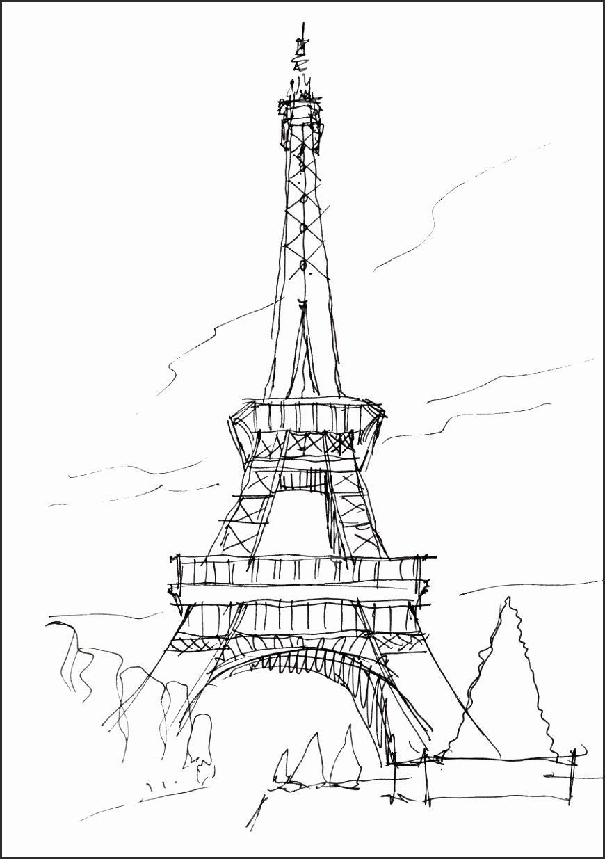870x1235 16 Sketches Of The Eiffel Tower Besttemplates